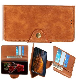 PU Кожаный Чехол Книжка с Кошельком и Подставкой для Samsung Galaxy M30s Коричневый