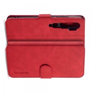 PU Кожаный Чехол Книжка с Кошельком и Подставкой для Xiaomi Mi Note 10 Красный