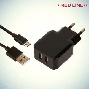 Red Line Сетевое зарядное устройство для телефона на 2 USB 2.4A и кабель micro USB