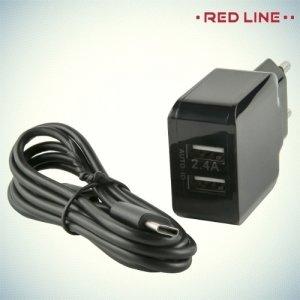 Red Line Сетевое зарядное устройство для телефона на 2 USB 2.4A и кабель Type-C