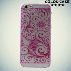 Силиконовый чехол для iPhone 6S - с рисунком Розовые узоры