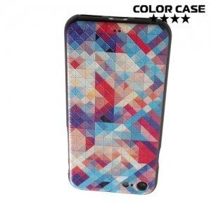 Силиконовый чехол объемный для iPhone 8/7 - с рисунком Цветные треугольники