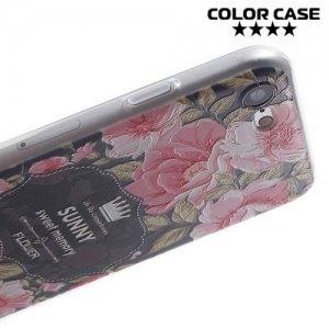 Силиконовый чехол для iPhone 8/7 - с рисунком Розы на черном