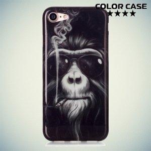 Силиконовый чехол для iPhone 8/7 - с рисунком Курящая обезьяна