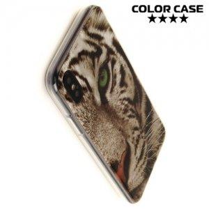 Силиконовый чехол для iPhone Xs / X - с рисунком Тигр
