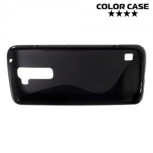 Силиконовый чехол для LG K7 X210ds - S-образный Черный