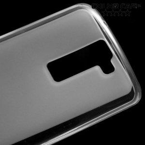Силиконовый чехол для LG K8 K350E - Матовый Белый полупрозрачный