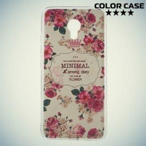 Силиконовый чехол для Meizu m3 mini / m3s mini - с рисунком Розы на белом
