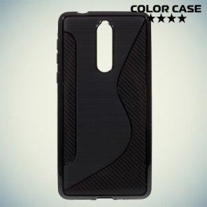 Силиконовый чехол для Nokia 8 - S-образный Черный