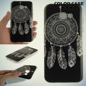 Силиконовый чехол для Samsung Galaxy A5 2017 SM-A520F - с рисунком Ловец снов на чёрном