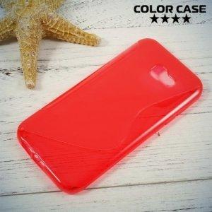 Силиконовый чехол для Samsung Galaxy A7 (2017)  - S-образный Красный
