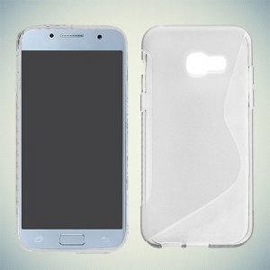 Силиконовый чехол для Samsung Galaxy A7 (2017)  - S-образный Прозрачный