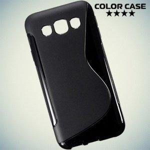 Силиконовый чехол для Samsung Galaxy E5 - S-образный Черный