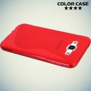 Силиконовый чехол для Samsung Galaxy E7 - S-образный Красный