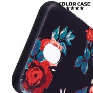 Силиконовый чехол для Samsung Galaxy J7 2017 SM-J730F - с рисунком Розы на черном