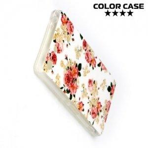 Силиконовый чехол для Sony Xperia M5 - с рисунком Цветы