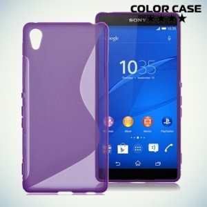 Силиконовый чехол для Sony Xperia Z5 Premium - S-образный Фиолетовый