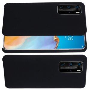 Силиконовый чехол мягкая подкладка из микрофибры для Huawei P40 Черный