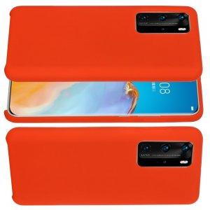 Силиконовый чехол мягкая подкладка из микрофибры для Huawei P40 Красный