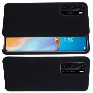 Силиконовый чехол мягкая подкладка из микрофибры для Huawei P40 Pro Черный