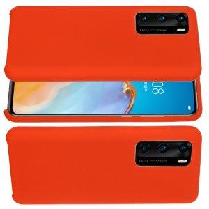 Силиконовый чехол мягкая подкладка из микрофибры для Huawei P40 Pro Красный