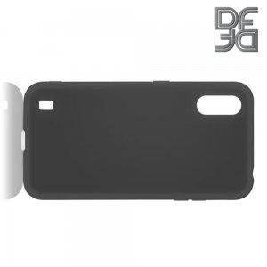 Силиконовый чехол мягкая подкладка из микрофибры для Samsung Galaxy A01 Черный