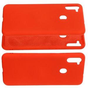 Силиконовый чехол мягкая подкладка из микрофибры для Samsung Galaxy A11 / Galaxy M11 Красный