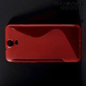 Силиконовый чехол для HTC One E9 Plus S-образный - Красный