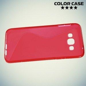 Силиконовый чехол для Samsung Galaxy A8 - красный S-образный