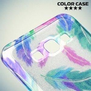 Силиконовый чехол для Samsung Galaxy A8 с рисунком Блестящие перья