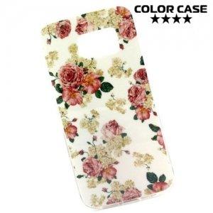 Силиконовый чехол для Samsung Galaxy S6 Edge с орнаментом Розовые и белые розы