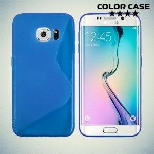 Силиконовый чехол для Samsung Galaxy S6 Edge - синий S-образный