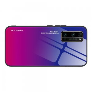 Силиконовый Градиентный Стеклянный Чехол для Huawei Honor 30 Pro Синий / Розовый