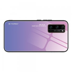 Силиконовый Градиентный Стеклянный Чехол для Huawei Honor 30 Pro Светло Розовый