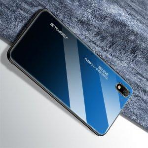 Силиконовый Градиентный Стеклянный Чехол для Huawei Honor 8S / Y5 2019 Синий / Черный