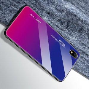 Силиконовый Градиентный Стеклянный Чехол для Huawei Honor 8S / Y5 2019 Синий / Розовый