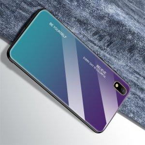 Силиконовый Градиентный Стеклянный Чехол для Huawei Honor 8S / Y5 2019 Синий