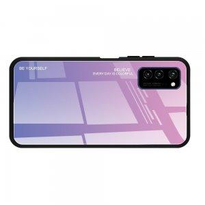 Силиконовый Градиентный Стеклянный Чехол для Huawei Honor View 30 / View 30 Pro Розовый