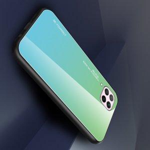 Силиконовый Градиентный Стеклянный Чехол для Huawei P40 Lite Бирюзовый