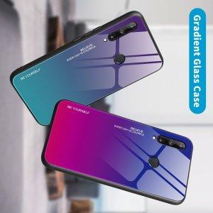 Силиконовый Градиентный Стеклянный Чехол для Huawei P40 lite E Фиолетовый / Розовый