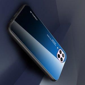 Силиконовый Градиентный Стеклянный Чехол для Huawei P40 Lite Синий / Черный