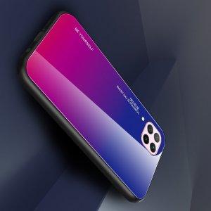 Силиконовый Градиентный Стеклянный Чехол для Huawei P40 Lite Синий / Розовый