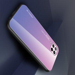 Силиконовый Градиентный Стеклянный Чехол для Huawei P40 Lite Светло Розовый
