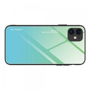 Силиконовый Градиентный Стеклянный Чехол для iPhone 12 Pro Max 6.7 Бирюзовый / Синий