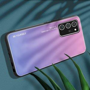 Силиконовый Градиентный Стеклянный Чехол для Samsung Galaxy A21s Светло Розовый