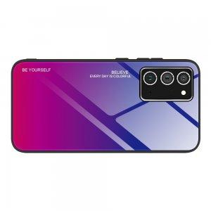 Силиконовый Градиентный Стеклянный Чехол для Samsung Galaxy A52 Синий / Розовый