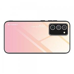 Силиконовый Градиентный Стеклянный Чехол для Samsung Galaxy A52 Золотой