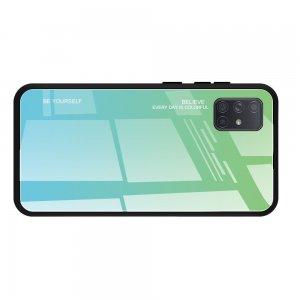 Силиконовый Градиентный Стеклянный Чехол для Samsung Galaxy A71 Бирюзовый / Синий