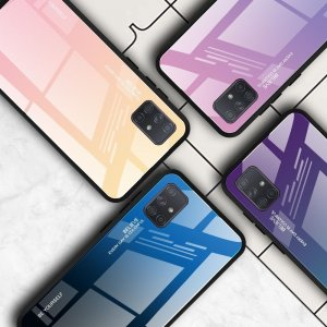 Силиконовый Градиентный Стеклянный Чехол для Samsung Galaxy A71 Розовый