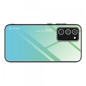 Силиконовый Градиентный Стеклянный Чехол для Samsung Galaxy A72 Бирюзовый